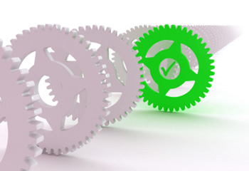 Line of cogs with one accented